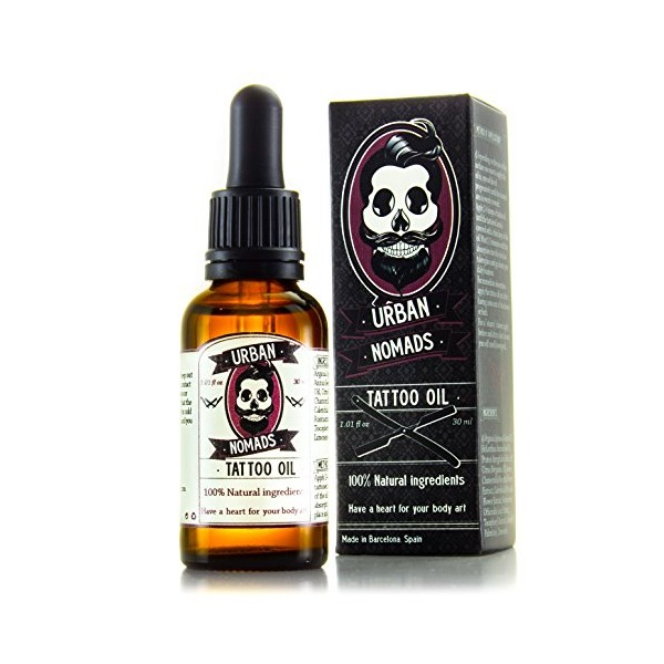 Tattoo Aftercare Oil by Urban Nomads - Hand Crafted in Barcelona - 100% Natural Ingredients - Revitalizes & Brightens Body Ink - Restores & Moisturizes Skin - Argan Oil, Essential Oils,Vitamins - 1oz