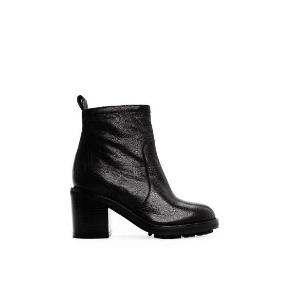 Mango Women's Zipper Leather Ankle Boots, Black, 9.5