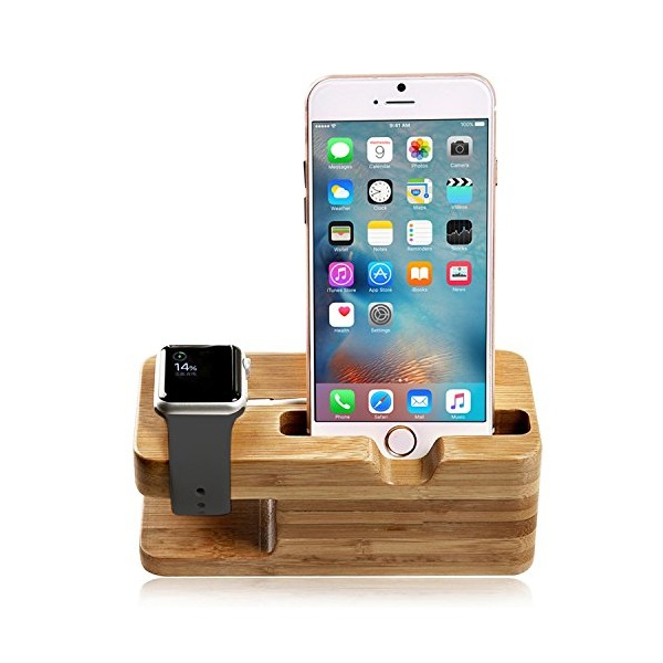 #1 Apple Watch Stand, Aerb Bamboo Wood Charging Stand Bracket Docking Station Stock Cradle Holder for iPhone and Apple Watch 38mm 42mm