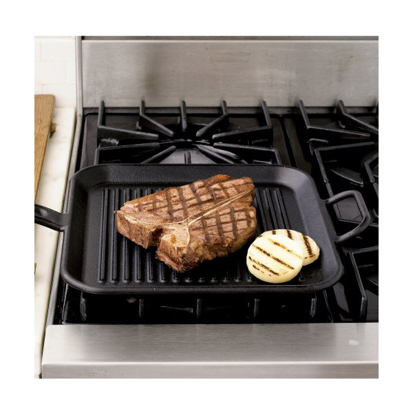 Lodge Pro-Logic P12SGR3 Pre-Seasoned Cast Iron Square Grill Pan, 12-inch