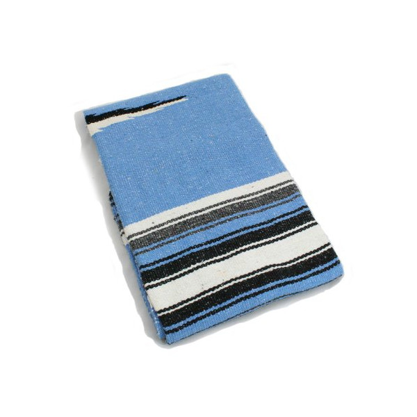 Hand Woven Diamond Mexican Yoga Blankets Light Blue