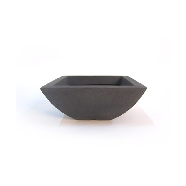CompoClay PR-0035-15-SSS-49 Square Bowl Planter, 15-Inch, Dark Grey