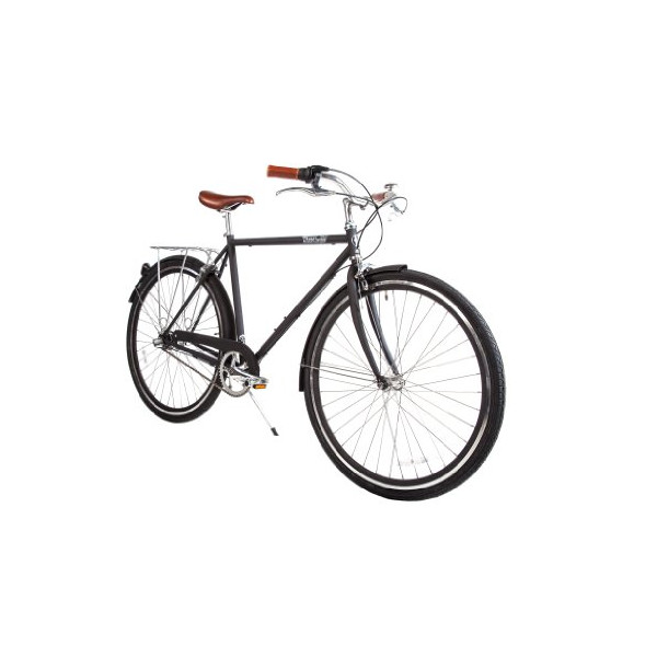 Pure City Cycles Classic Diamond Frame Bike 3-Speed, 54cm, The Bourbon Matte Black/Black