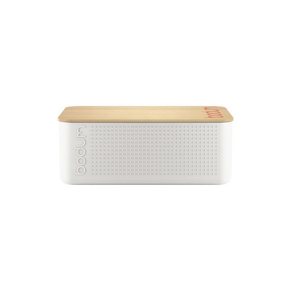 Bodum Bistro Milky White Bread Box with Bamboo Lid