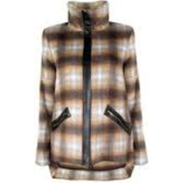 10 Crosby Derek Lam Ombre Plaid Stand Up Collar Jacket with Back Tail, Brown