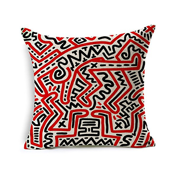 "Heartybay Home Decorative Keith Haring's Graffiti-art Printing Cotton Linen Throw Pillow Cover Cushion Case 18""X18""(D)"