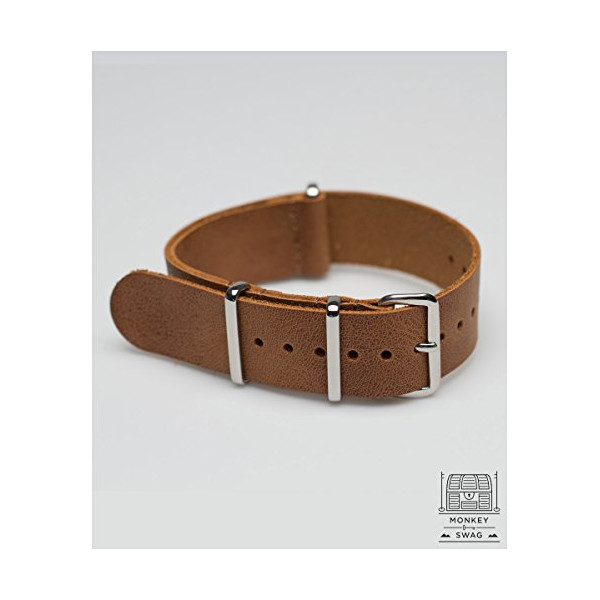 Monkeyswag G10 Nato Leather Watch Strap, Camel (20mm)
