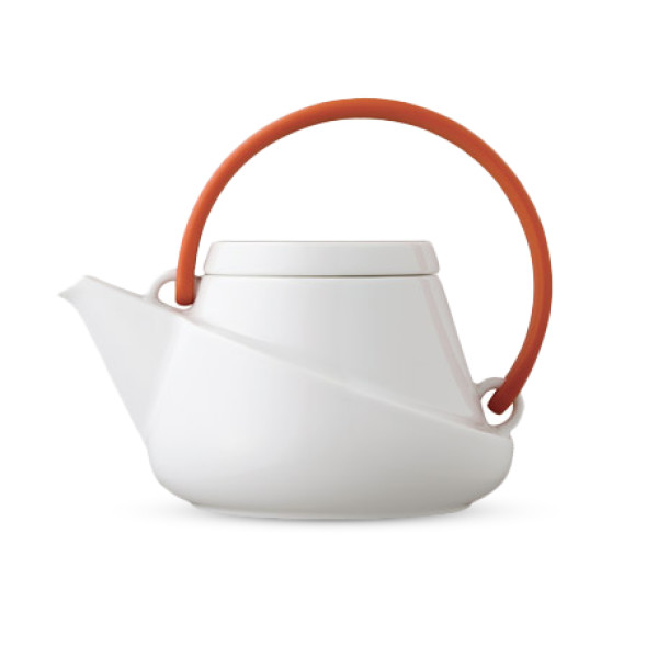Kinto Ridge Teapot 450ml, Orange with Strainer