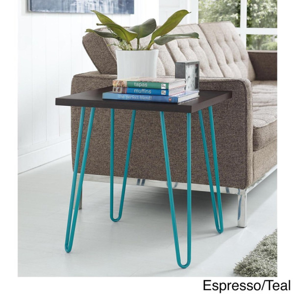 Mid Century Modern End Table | Fun Colors and Hairpin Metal Legs Make a Statement in Your Home