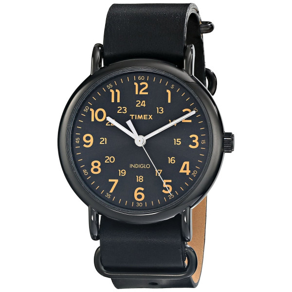 Timex Unisex Weekender Watch with Black Leather Band