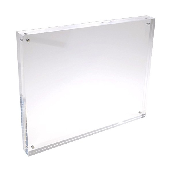 5x7 Acrylic Picture Frames; Acrylic Magnetic Frames, Clear Picture Frames, Double Sided See Through Sandwich Magnet Photo Block Two Sided Frame, 20% Thicker at Nearly 1 Inch Thick (5x7)