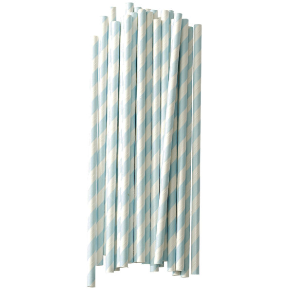 Dress My Cupcake Aqua Striped Paper Straws, 25-Pack