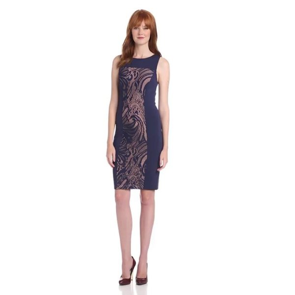 BCBGMAXAZRIA Women's Leona Lace Dress with Contrast Ponte, Imperial Blue, Small