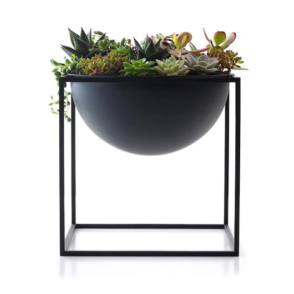 Modern Metal Cube Frame Planter Bowl