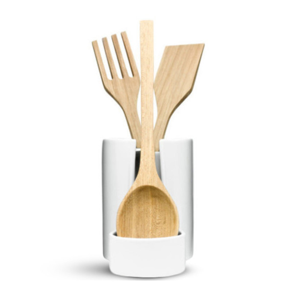 Sagaform Stoneware Utensil Jar with Removable Metal Spoon Rest and Wooden Utensils