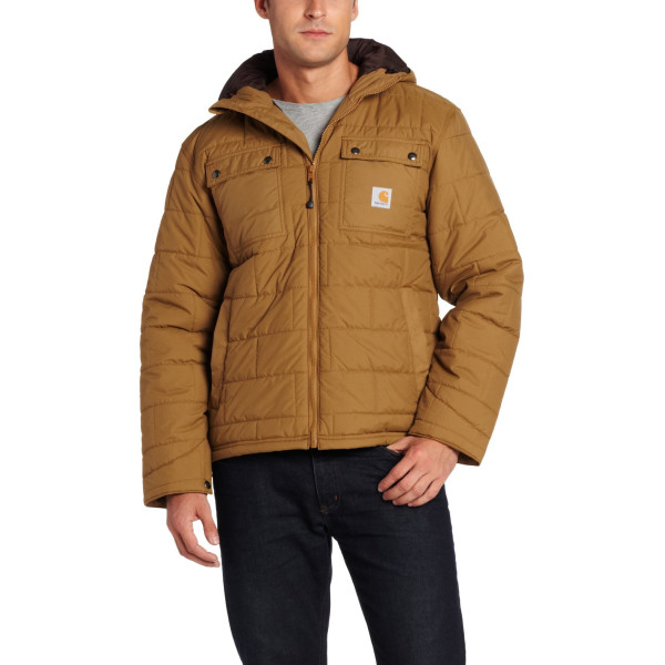 Carhartt Men's Brookville Quilted Nylon Jacket,Frontier Brown  (Closeout),Large