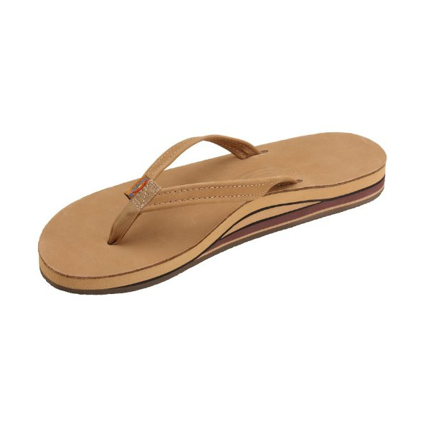 Rainbow Sandals Women Premium Leather Narrow Strap Double Layer/Sierra Brown Small