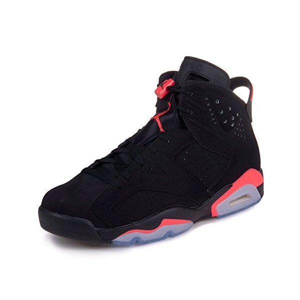 Nike Men's Air Jordan 6 Retro Black/Infrared Leather And Nubuck Basketball Shoes 10