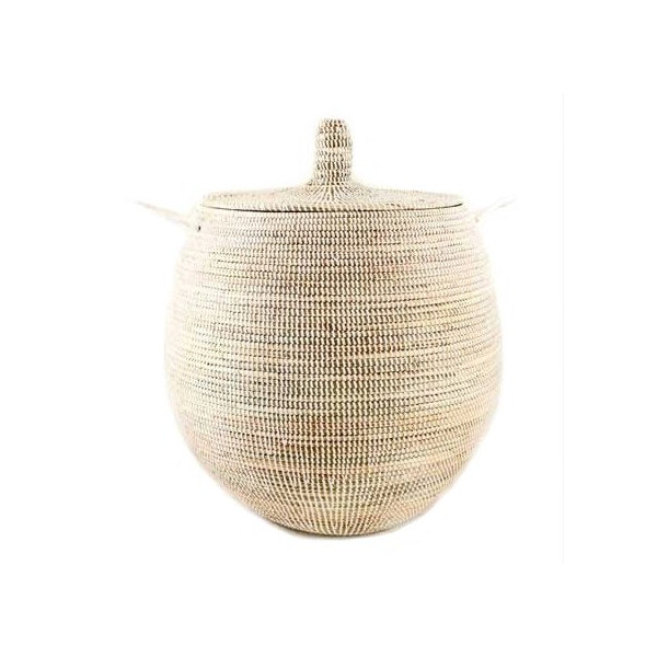 Large Woven Gourd Basket with Lid - Fair Trade Poduct