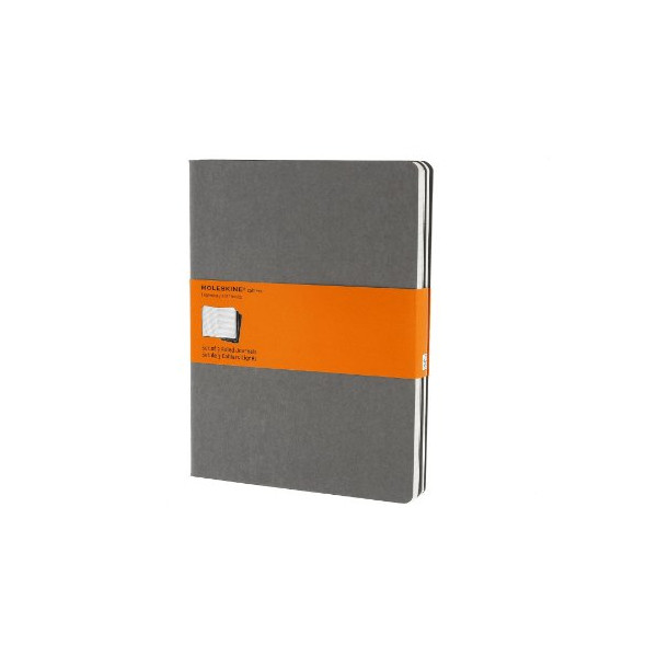 Moleskine Cahier Journal (Set of 3), Extra Large, Ruled, Pebble Grey, Soft Cover (7.5 x 10)