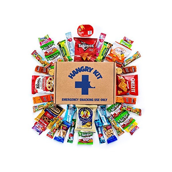 Hangry Kit Sweet & Salty Snack Sampler - Care Package - Gift Pack - Variety of 40 Chips, Candies & Cookies Included - 100% Money Back Guarantee