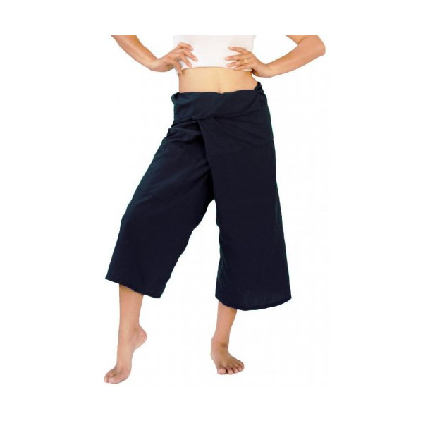 Treasures of Thailand Light Cotton 3/4 Capri Thai Fisherman Pants One-size Black