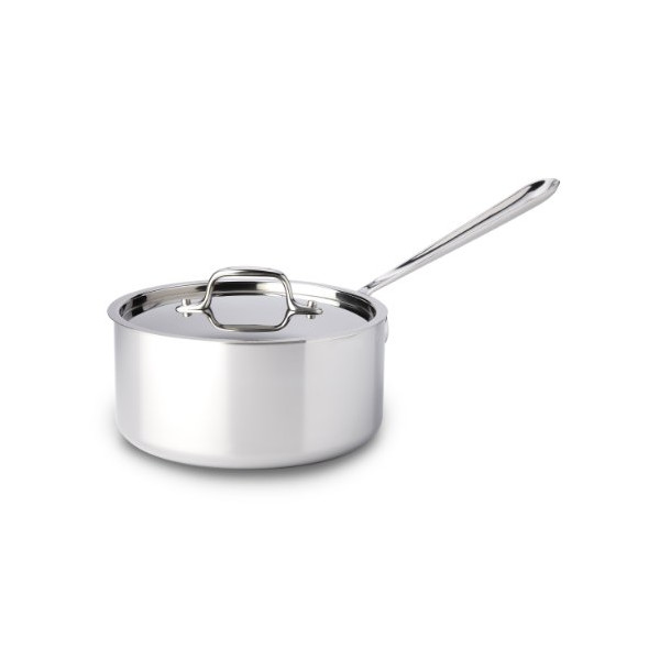 All Clad 4203 Stainless Steel Tri-Ply Bonded Dishwasher Safe 3-Quart Sauce Pan with Lid Cookware, Silver