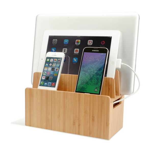 Bamboo Universal Multi Device Cord Organizer Stand and Charging Station for Smartphones, Tablets, and Laptops