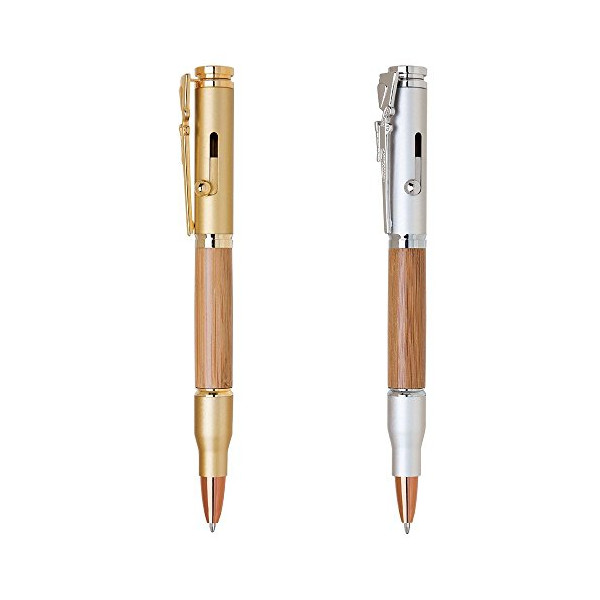 2 Pen Set - Rifle Bullet Bamboo Collector Ballpoint Pens
