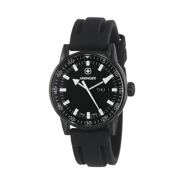 Wenger 70175 Men's Black Plated Rubber Strap Swiss Watch