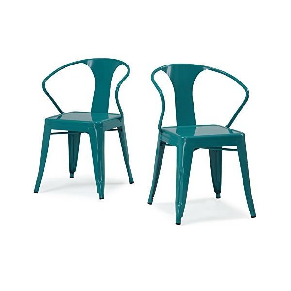 ModHaus Set of 4 Turquoise Metal Chairs in Glossy Powder Coated Finish Steel Stackable Dining