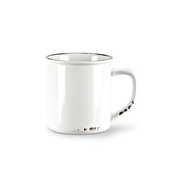 Abbott Collection Enamel Look White Mug, 14 oz