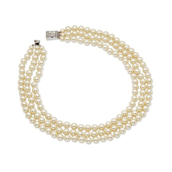 Jackie Kennedy Triple-Strand Simulated Pearl 18in Necklace