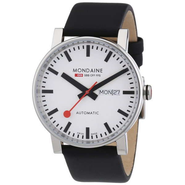 Mondaine Mens Day/Date Automatic Watch - White Dial - Black Leather Strap