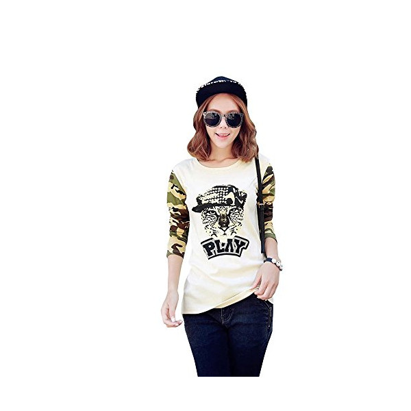 HSTYLE Women's Patchwork Animal Design Printed Crewneck Leopard Print T-Shirt Size M Color Multicoloured