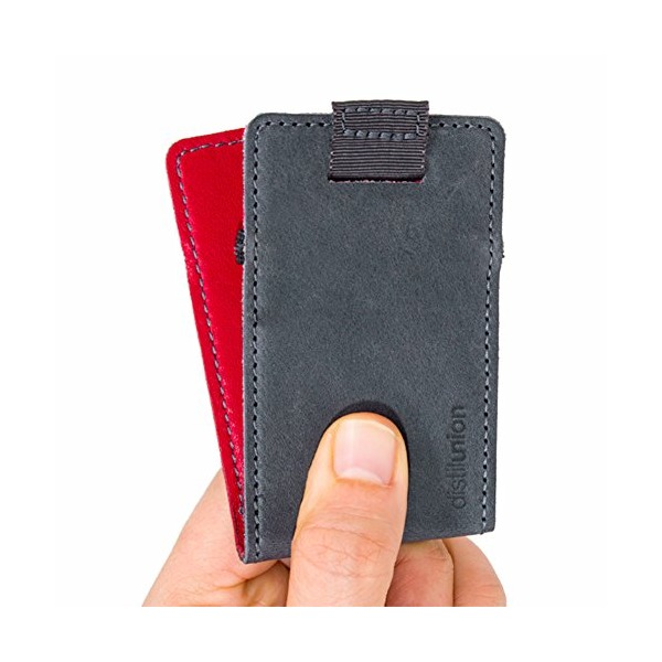 Distil Union - Wally Micro, The unbelievably minimal, reversible leather slim-sleeve wallet - Gray/Red