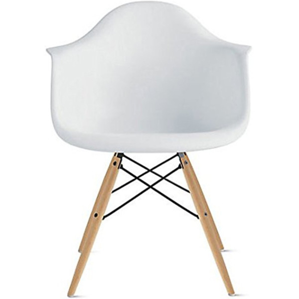 Eames Style Armchair, Set of Two, White, Natural Wood
