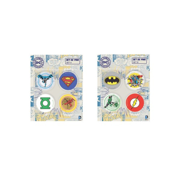 DC Comics Superhero Badge Pins Superman Batman Green Lantern Flash Avenger - Set B & Set A