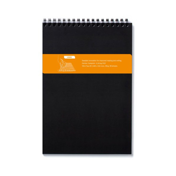 Whitelines Top Wire A5 Notebook, Lined, Black (WL82 WtopBA5L)