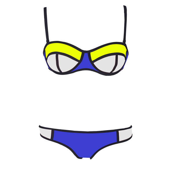 Structured Mesh Color Block Neoprene Bikini, Deep Blue