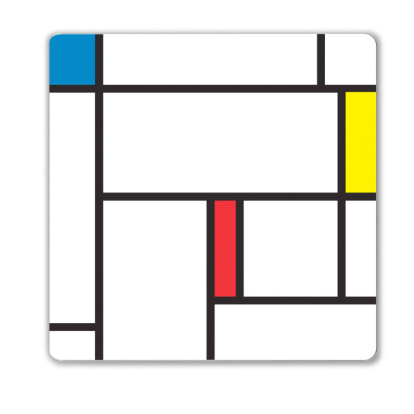 Kikkerland Mondrian Magnetic Dry Erase Board, 14 x 14 Inches