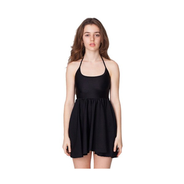 American Apparel Nylon Tricot Figure Skater Dress - Black / L