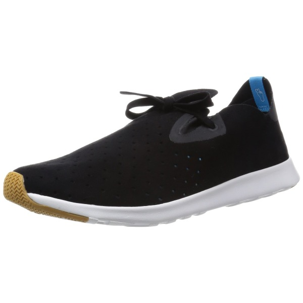 Native Shoes Unisex Apollo Moc Jiffy Black/Shell White Sneaker Men's 7, Women's 9 Medium