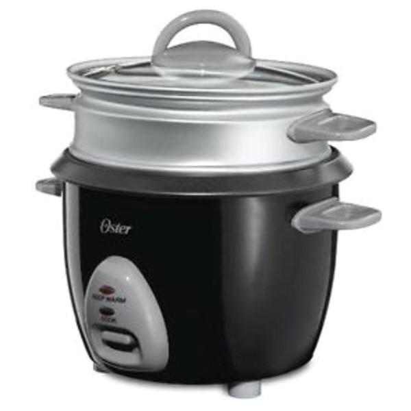 Oster CKSTRCMS65 3-Cup (Uncooked), 6-Cup (Cooked) Rice Cooker with Steam Tray, Black