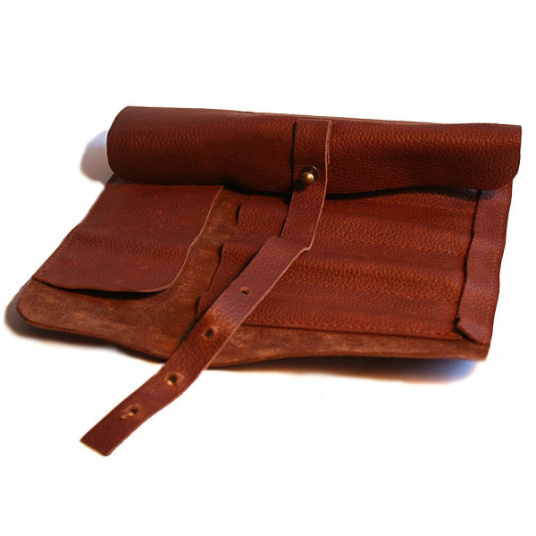 Pencil Case - Genuine Leather, Unique Rollup Style, Includes BONUS Palomino Graphite Pencil