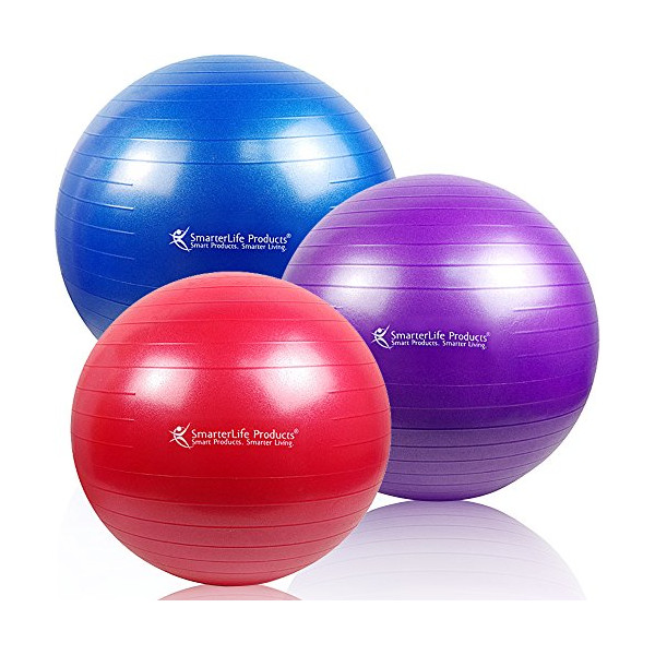 SmarterLife Products Premium Exercise and Stability Ball - #1 for Fitness, Weight Loss, Core Strength, CrossFit, Yoga & Pilates (Purple, 65 cm)