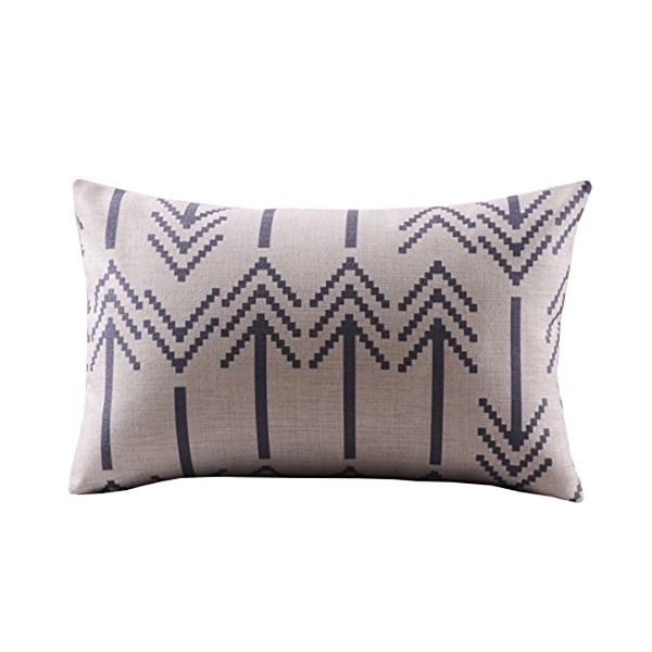 "Createforlife Cotton Linen Decorative Throw Pillow Case Cushion Cover Chevron Black Rectangle 12"" * 20"""