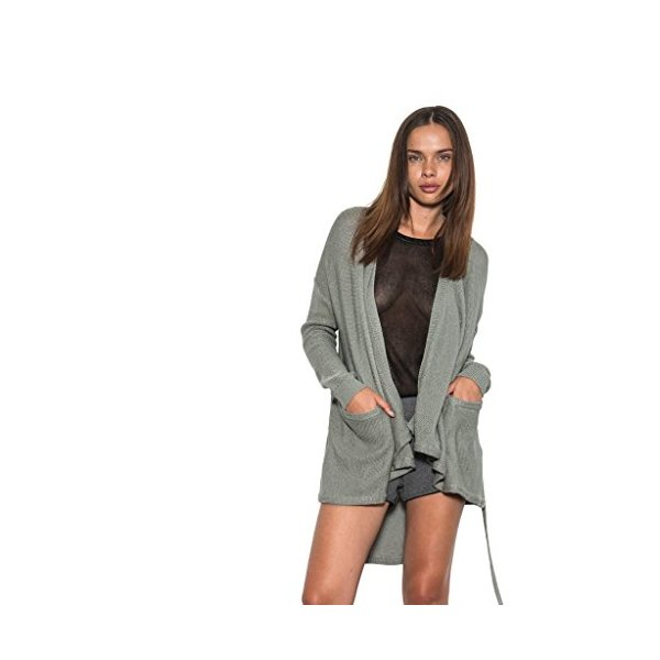 Women Long Sleeve Quinn Hi-Lo Knit Cardigan Open Back Sage One Grey Day-L