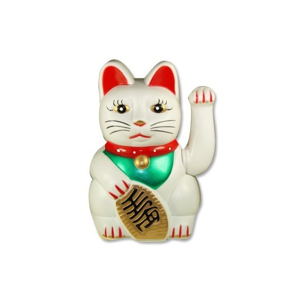 Maneki neko Lucky fortune Cat Waving Arm White by Happy Sales