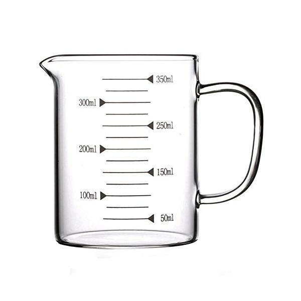 Lautechco High Borosilicate Food Grade Glass Measuring Cup Pot Kettle (350ml)